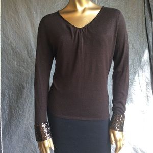 Talbots brown top with sequins Sz M